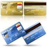 Carte di credito, parte anteriore e vista posteriore Immagini Stock