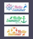 Carte di estate dell'acquerello ciao Immagine Stock