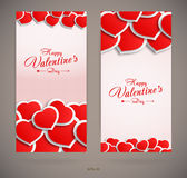 Carte di giorno di biglietti di S. Valentino con i cuori illustrazione vettoriale