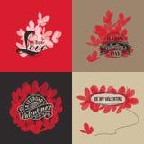 Carte di giorno di biglietti di S. Valentino con le farfalle. Illustrazione di vettore Immagine Stock Libera da Diritti