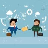 Carte di Give Folder Document dell'uomo d'affari, dati di informazioni della parte degli uomini d'affari illustrazione di stock