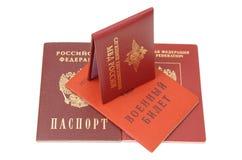 Carte di identificazione russe Fotografia Stock