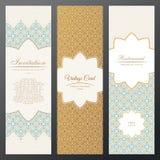 Carte di lusso d'annata di Islam Insieme di vettore di decorato nella progettazione etnica Etichette dell'oro con il posto per te Fotografie Stock Libere da Diritti