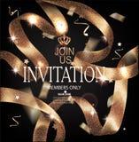 Carte di lusso dell'invito dell'oro di VIP con i nastri ricci scintillanti illustrazione vettoriale