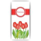 Carte di pasqua con i fiori della molla - tulipani Fotografia Stock Libera da Diritti