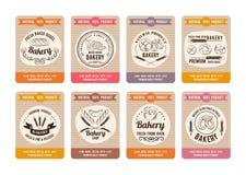 Carte di prezzi con differenti tipi di pani Etichette per il negozio del forno Retro stile disegnato delle illustrazioni di vetto illustrazione di stock