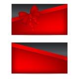 Carte di regalo nere con i nastri rossi Immagini Stock Libere da Diritti