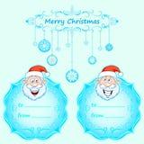 Carte di Santa Claus Gift Natale con la struttura d'annata e desideri di Natale nell'inverno inglese Fotografie Stock Libere da Diritti