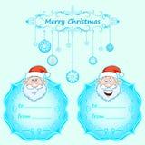 Carte di Santa Claus Gift Natale con la struttura d'annata e desideri di Natale nell'inverno inglese Fotografia Stock Libera da Diritti