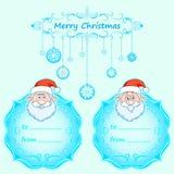 Carte di Santa Claus Gift Natale con la struttura d'annata e desideri di Natale nell'inverno inglese Fotografie Stock