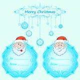 Carte di Santa Claus Gift Natale con la struttura d'annata e desideri di Natale nell'inverno inglese Immagini Stock Libere da Diritti
