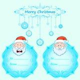 Carte di Santa Claus Gift Natale con la struttura d'annata e desideri di Natale nell'inverno inglese Immagine Stock