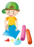 Carte di taglio del ragazzo nelle forme illustrazione vettoriale