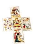 Carte di tarocchi precisate in cinque sparsi Fotografia Stock
