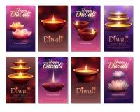 Carte di verticale di celebrazione di Diwali royalty illustrazione gratis