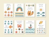 Carte disegnate a mano sveglie della doccia di bambino di scarabocchio illustrazione di stock