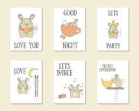Carte disegnate a mano sveglie di scarabocchio royalty illustrazione gratis