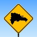 Carte Dominicana sur le panneau routier illustration de vecteur