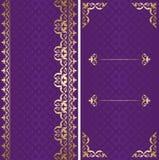 Carte dorate e viola con l'ornamento arabo Illustrazione di Stock