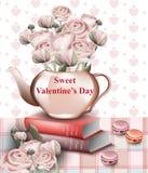 Carte douce de Saint Valentin avec les fleurs de papier de rose dans un pot Rétros milieux de style de vecteur Photo stock