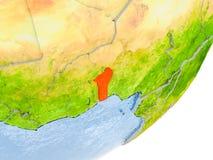 Carte du Bénin sur terre Photographie stock libre de droits