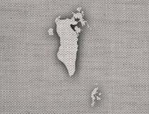 Carte du Bahrain sur la vieille toile Photographie stock