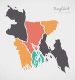 Carte du Bangladesh avec des états et des formes rondes modernes Photos libres de droits