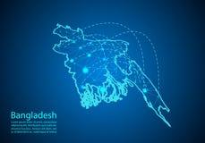 Carte du Bangladesh avec des noeuds liés par des lignes concept de COM globale illustration de vecteur