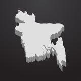 Carte du Bangladesh dans le gris sur un fond noir 3d Image stock