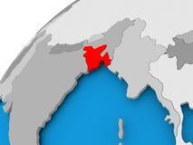 Carte du Bangladesh en rouge Image libre de droits