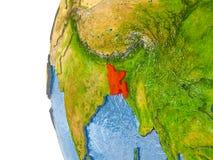 Carte du Bangladesh sur le modèle du globe Photo libre de droits
