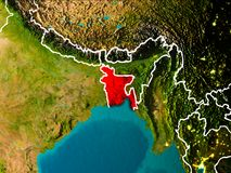 Carte du Bangladesh sur terre Photos libres de droits