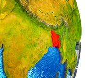 Carte du Bangladesh sur terre 3D illustration stock