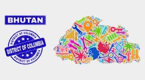 Carte du Bhutan de technologie de mosaïque et District de Columbia grunge le timbre illustration libre de droits