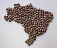 Carte du Brésil avec des haricots Image stock
