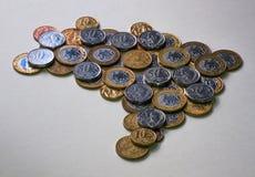 Carte du Brésil avec des pièces de monnaie Photographie stock