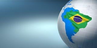 Carte du Brésil sur terre dans les couleurs nationales Photo libre de droits
