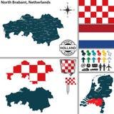 Carte du Brabant-Septentrional, Pays-Bas Images stock
