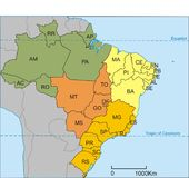 Carte du Brésil Images libres de droits