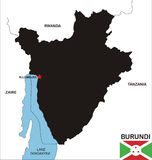 Carte du Burundi Photo libre de droits