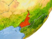 Carte du Cameroun sur terre Photo libre de droits