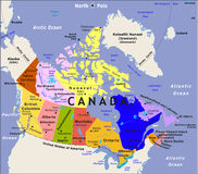 Carte du Canada. Photo stock