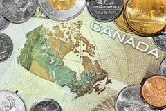 Carte du Canada sur la facture d'argent Image stock