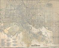Carte du cru 1891 de la ville de Baltimore illustration de vecteur