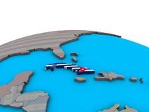 Carte du Cuba avec le drapeau sur le globe illustration libre de droits