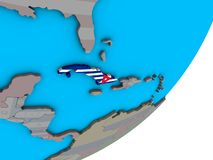 Carte du Cuba avec le drapeau sur le globe illustration stock