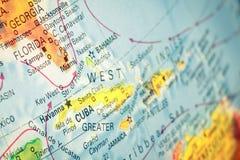 Carte du Cuba et de la Floride Billet de banque remodelé nouvelle par libération du dollar photos libres de droits