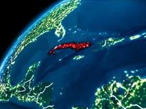 Carte du Cuba la nuit illustration de vecteur