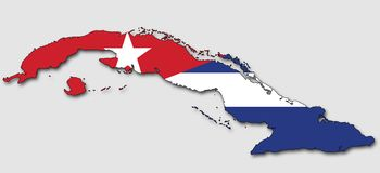 Carte du Cuba, remplie de drapeau national illustration de vecteur