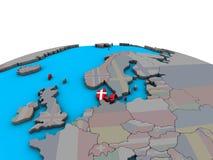 Carte du Danemark avec le drapeau sur le globe illustration de vecteur